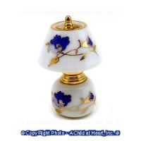 Dollhouse Non Working Blue & Gold Floral Lamp - Product Image