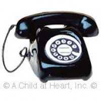 Dollhouse Black or White Rotary Phone - Product Image