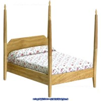 Disc $3 Off - Dollhouse Oak Pencil Post Bed - Product Image
