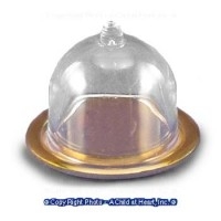 (§) Sale .50¢ Off - Gold Tray with Clear Dome - Product Image