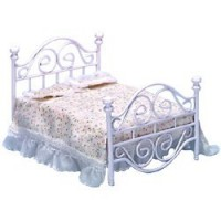 Dollhouse Double White Metal Bed - Product Image