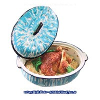 Dollhouse Chicken in Blue Spaterware Roaster - Product Image