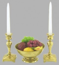 Dollhouse Filled Bowl of Fruit with Candle Sticks - Product Image