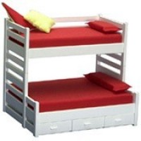 Dollhouse Trundle Bunk Bed - White - Product Image