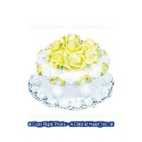Dollhouse White Cake w/Yellow Roses - Product Image