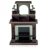 Disc $7 Off - Dollhouse Cherry Stain Fireplace - Product Image