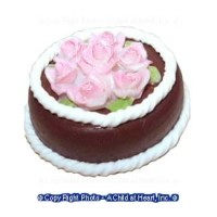 Dollhouse Chocolate Cake with Pink Roses - Product Image