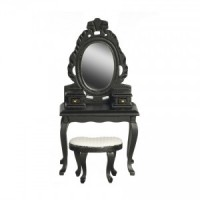 Dollhouse Black Vanity with Stool - Product Image
