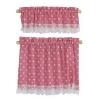 Dollhouse Nursery Hearts Cottage Curtains - Product Image