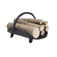 Black Dollhouse Log Basket with Logs - Product Image