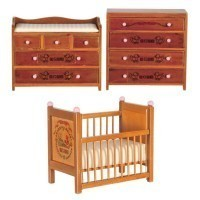 Dollhouse ABC Baby Room - Walnut - Product Image