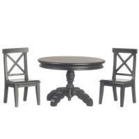 Dollhouse Black Pedestal Table Set - Product Image