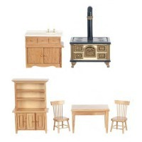 Dollhouse Oak Kitchen Set - Product Image
