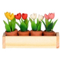 Dollhouse Window Box with Flower Pots - Product Image
