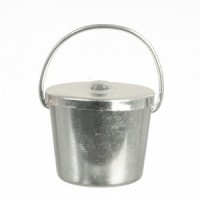 (*) Dollhouse Silver Bucket with Lid - Product Image