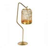 Dollhouse Tall Brass Bird Cage with Bird - Product Image