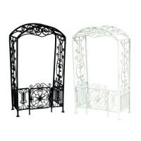 Dollhouse Black or White Arbor with Gate - Product Image