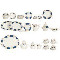 Dollhouse 35 pc Dish Set - Blue Pattern - Product Image