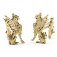 (*) Dollhouse Gold Griffins Andirons - Product Image