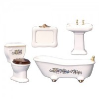 Dollhouse Gold Trim Floral Bathroom - Product Image