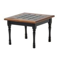 Dollhouse Kitchen Table, Black / Walnut Trim - Product Image