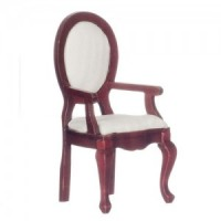 Dollhouse Mahogany Dining Chair - White Fabric - Product Image