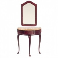 Marble Top Demi Table w/ Mirror - Product Image