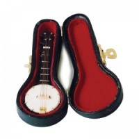 Dollhouse Miniature Banjo with Case - Product Image