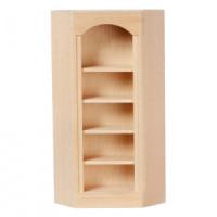 Dollhouse Unfinished Corner Bookcase with Angled Sides - Product Image