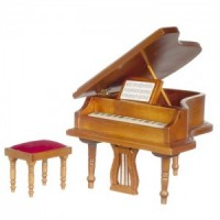 Dollhouse Walnut Grand Piano - Product Image