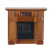 Elizabeth Dollhouse Walnut Fireplace - Product Image