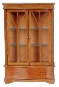Dollhouse Pecan Curio Cabinet with Drawers - Product Image