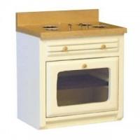 (*) Dollhouse White & Oak Ribbed Front Stove - Product Image