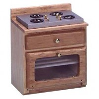 Dollhouse Oak Stove Clear Oven Door - Product Image