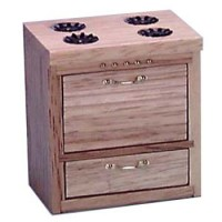 Sale $6 Off - Dollhouse Budget Oak Stove - Product Image