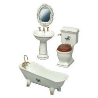 Dollhouse 4 pc Violet Bathroom Set - Product Image