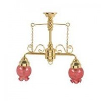 Dollhouse Two Arm Chandelier with Rosy Shades - Product Image