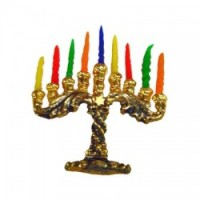 Patina Menorah & Candles - Product Image