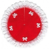 § Disc .60¢ Off - Tree Skirt Red w/ White Bow - Product Image