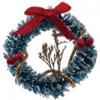 Dollhouse Snow Wreath & Dried Flowers - Product Image