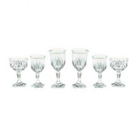 6 pc Smooth or Cutglass Stemware Set- Choice of Color & Style - - Product Image