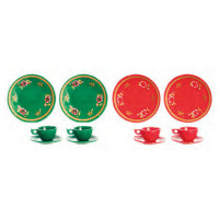 Dollhouse 6 pc Red or Green Dish Set - Product Image