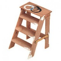 Dollhouse Used Wooden Step Ladder - Product Image