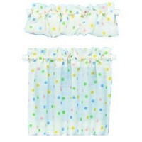 Dollhouse Cafe Curtains Color Dots - Product Image
