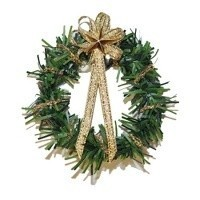 Dollhouse Wreath w/ Gold Bow - Product Image