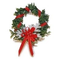 Dollhouse Red Metallic Bow Wreath - Product Image