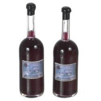 2 Dollhouse Glass Bottles of Wine - Product Image