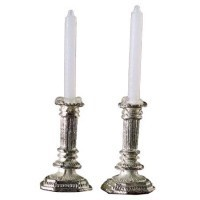Sale $3 Off - Set of Elaborate Silver Candlesticks - Product Image