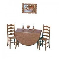 Dollhouse Drop Leaf Table w/2 Chairs F-150 (Kit) - Product Image