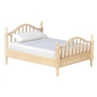 Dollhouse Unfinished Double Spindle Bed - Product Image